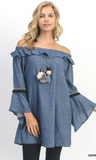 Soft Denim Off Shoulder Dress with Ruffle Detail