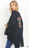 Solid Kimono with Embroidery Detail