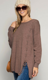 TUNIC SWEATER TOP WITH LACE UP SIDE DETAIL