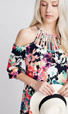 Vibrant Floral Off Shoulders Dress