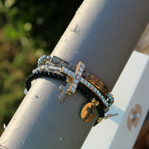 Black and Gray Triple Beaded Bracelet with Gold Cross.