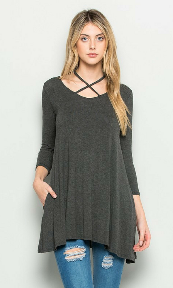 Criss Cross Front 3/4 Length Sleeve Tunic