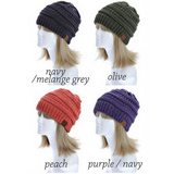 C C Beanie Two Tone Color Knit Hat