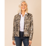 Simply Noelle Wild Instincts Chino Zip Front Animal Print Jacket