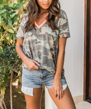 Women's V Neck Short Sleeve Camouflage T Shirt Top