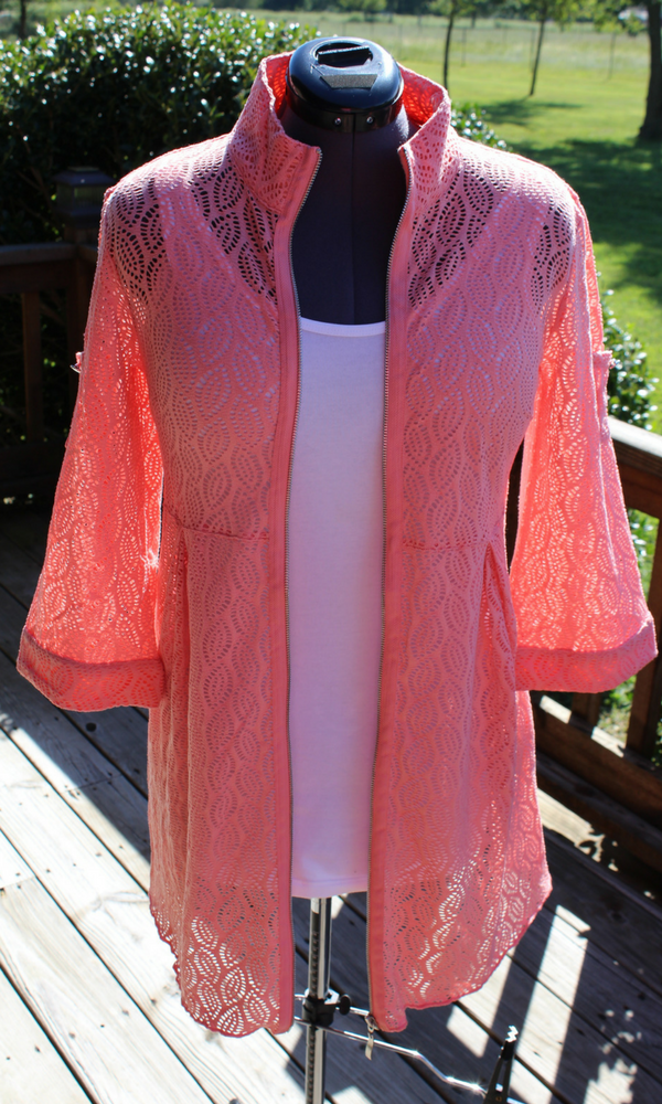 Women's  Leaf  Weave Jacket in  Coral or Melon