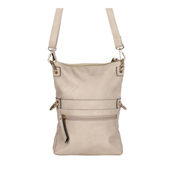 ZIPPERED MESSENGER HANDBAG