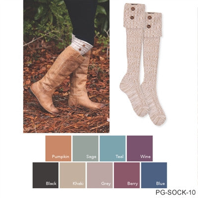 Foldover Heathered Button Boot Socks By Simply Noelle