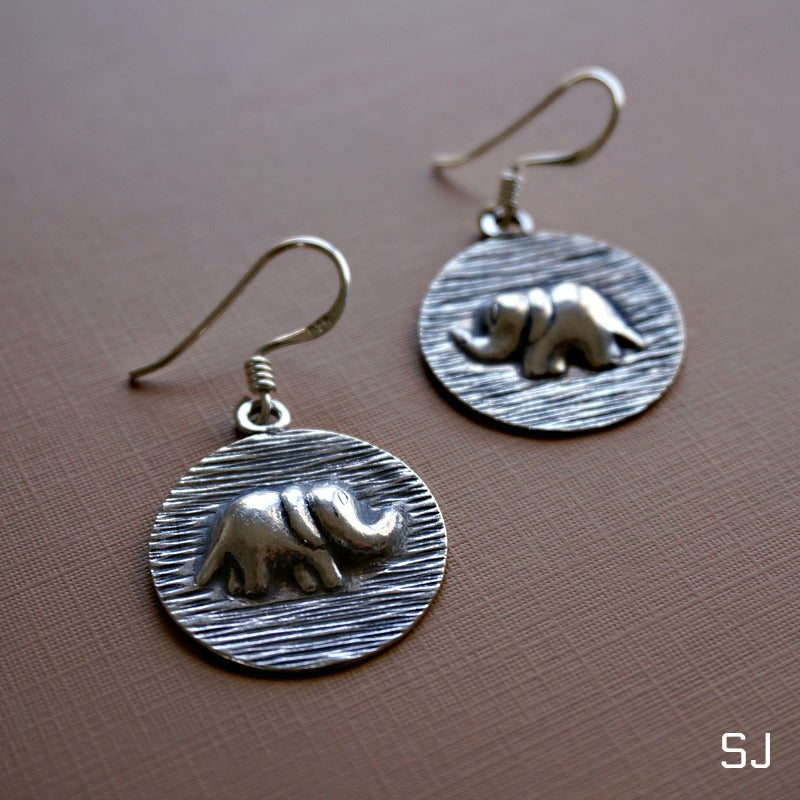 Ashura Silver Elephant Earrings - SOWELL JEWELRY