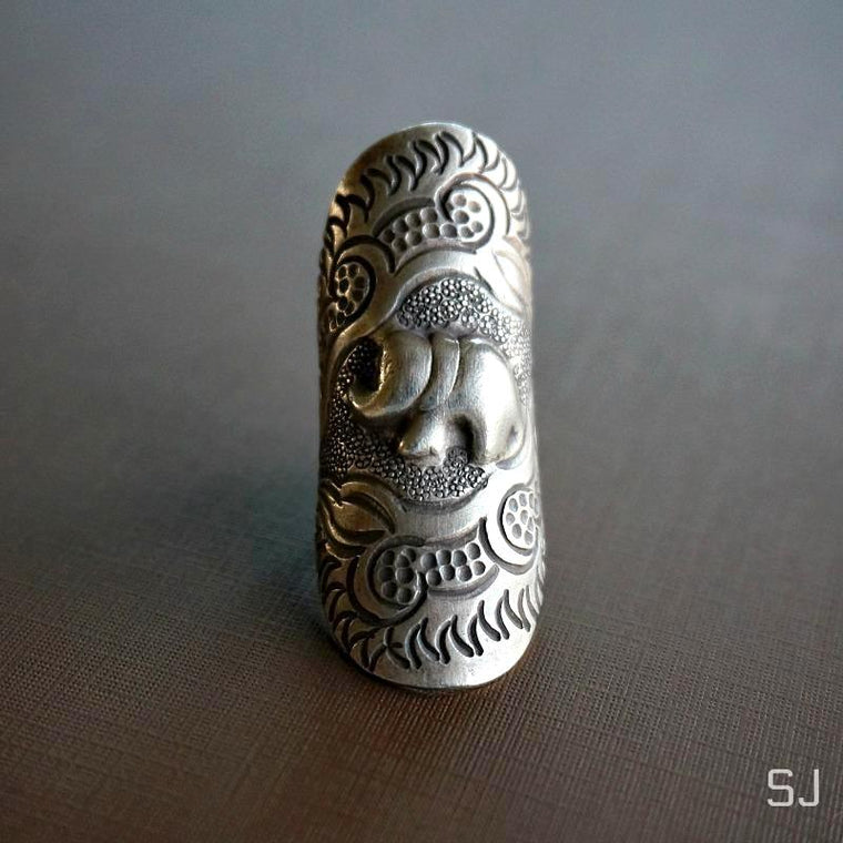 Aat Silver Elephant Ring