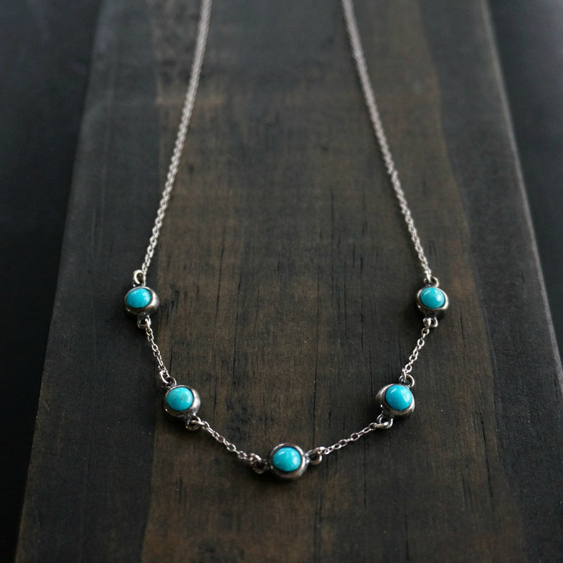 5 Stone Turquoise Necklace - SOWELL JEWELRY