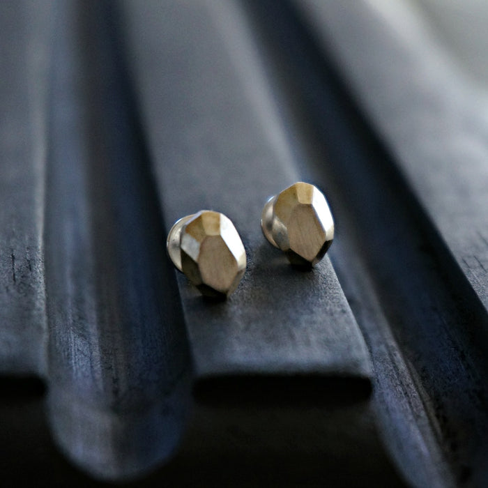 Silver Stone Stud Earrings - SOWELL JEWELRY