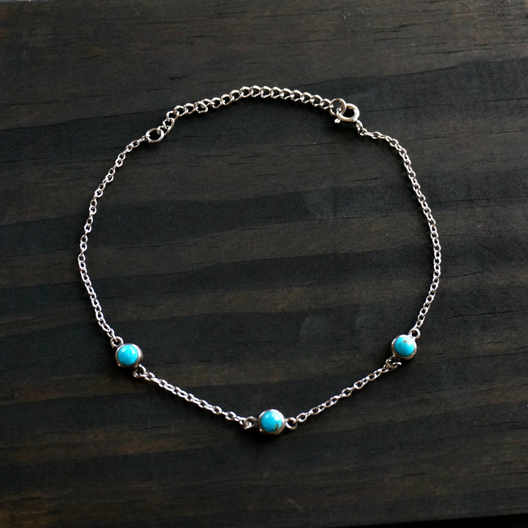 3 Stone Silver Anklet - SOWELL JEWELRY