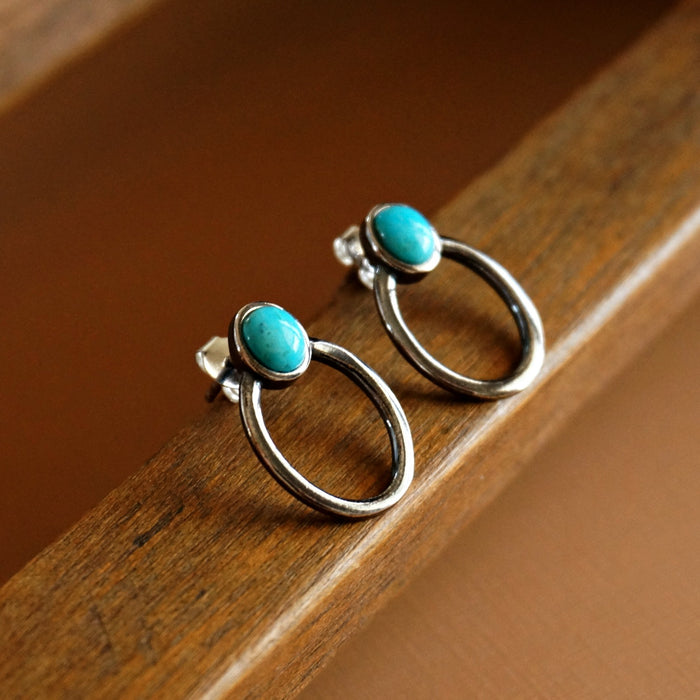 Sani turquoise Hoop Earrings - SOWELL JEWELRY