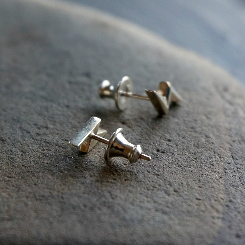 Silver Bolt Stud Earrings