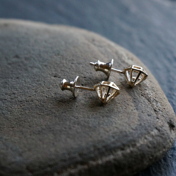 Diamond Silver Stud Earrings - SOWELL JEWELRY