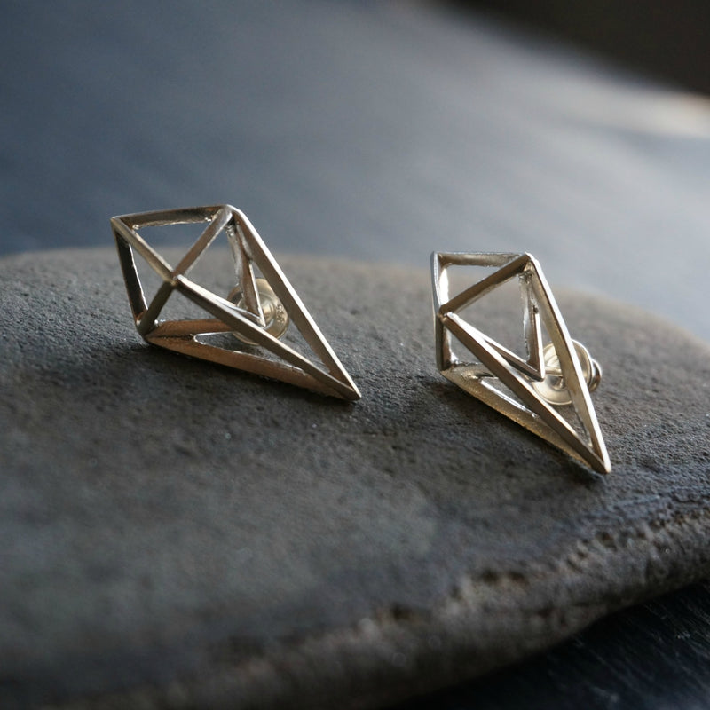 Rhombus Silver Stud Earrings - SOWELL JEWELRY