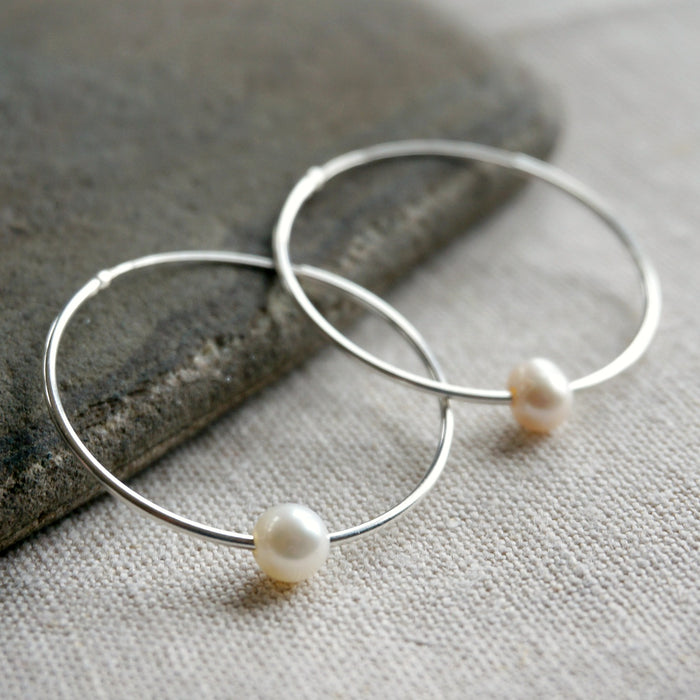 Pearl Hoop Earrings - SOWELL JEWELRY