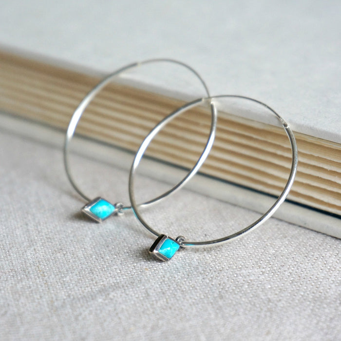 Dior Turquoise Hoop Earrings - SOWELL JEWELRY