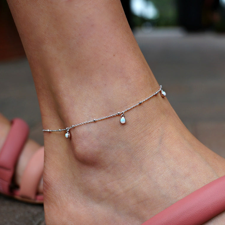 3 Stone Opal Anklet