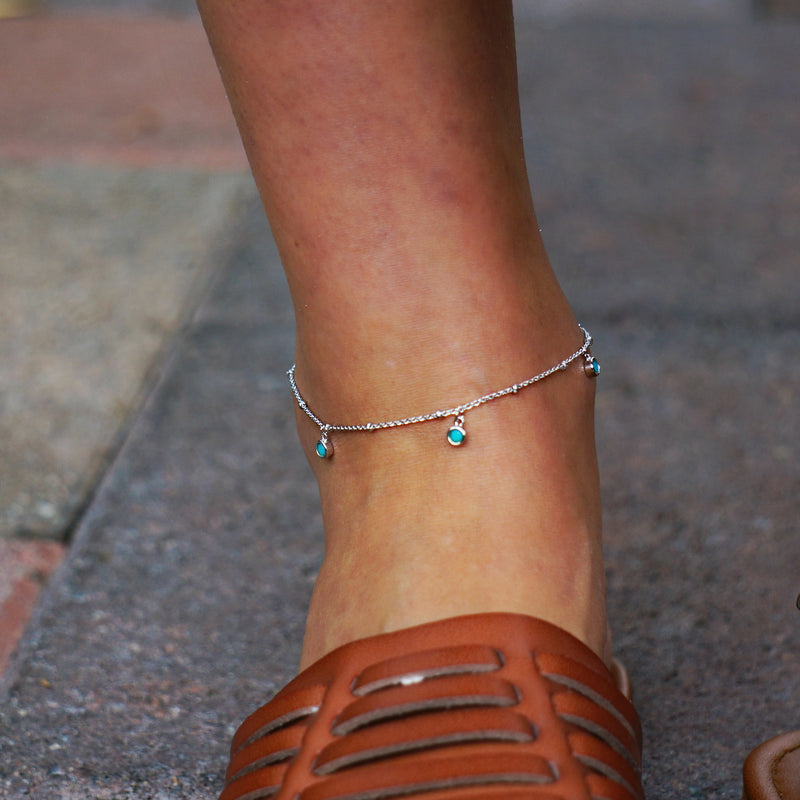 Emma 3 Stone Turquoise Anklet - SOWELL JEWELRY