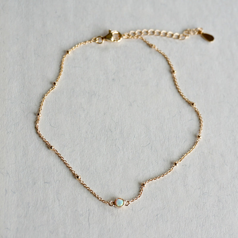 Single Stone Opal Anklet - SOWELL JEWELRY