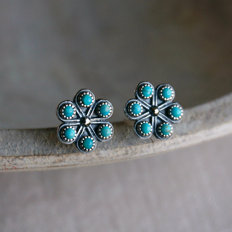 Turquoise Iris Stud Earrings
