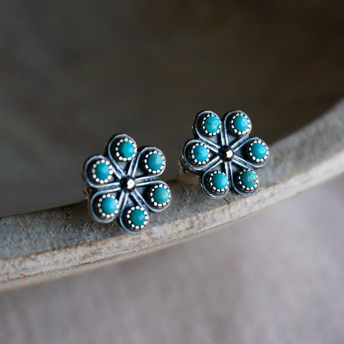 Turquoise Iris Stud Earrings - SOWELL JEWELRY