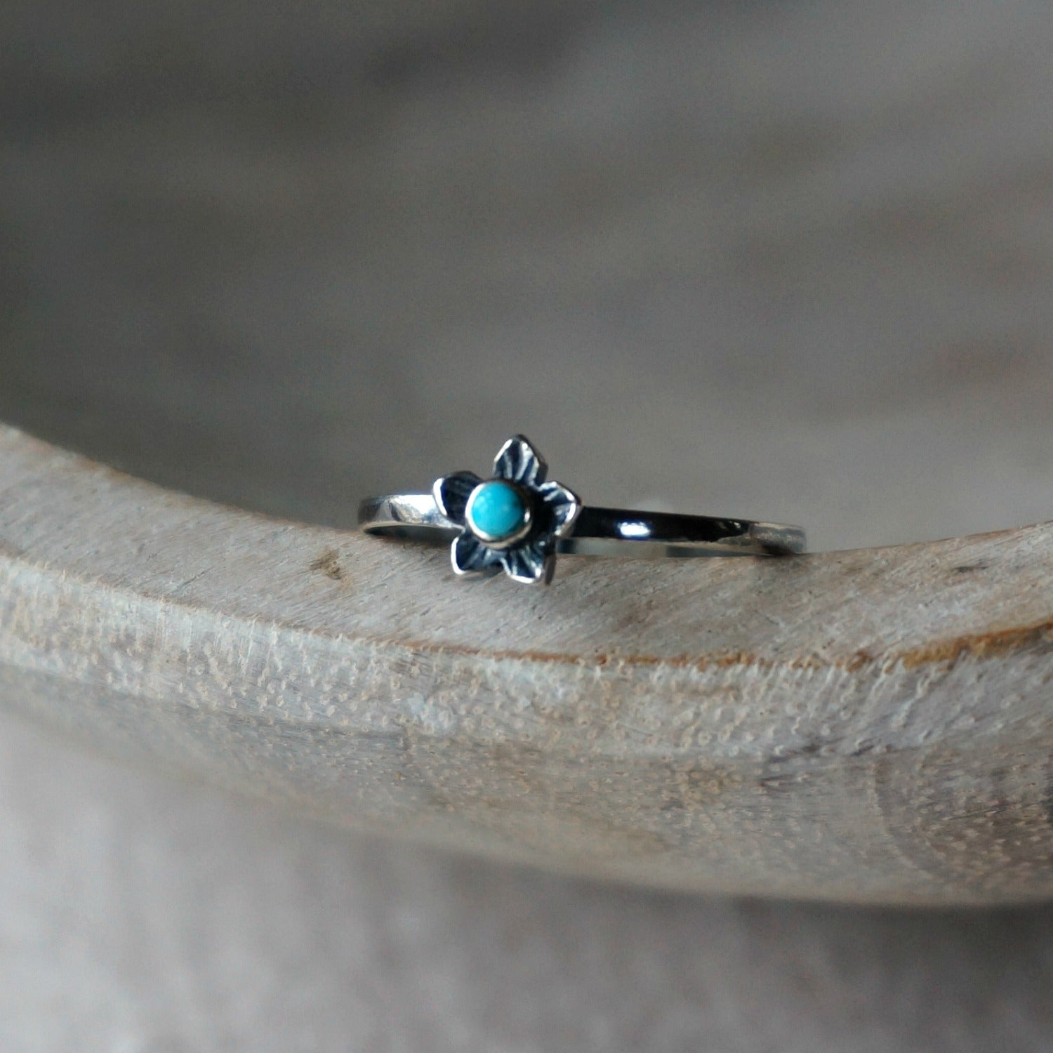 Plumeria Flower Turquoise Ring - SOWELL JEWELRY