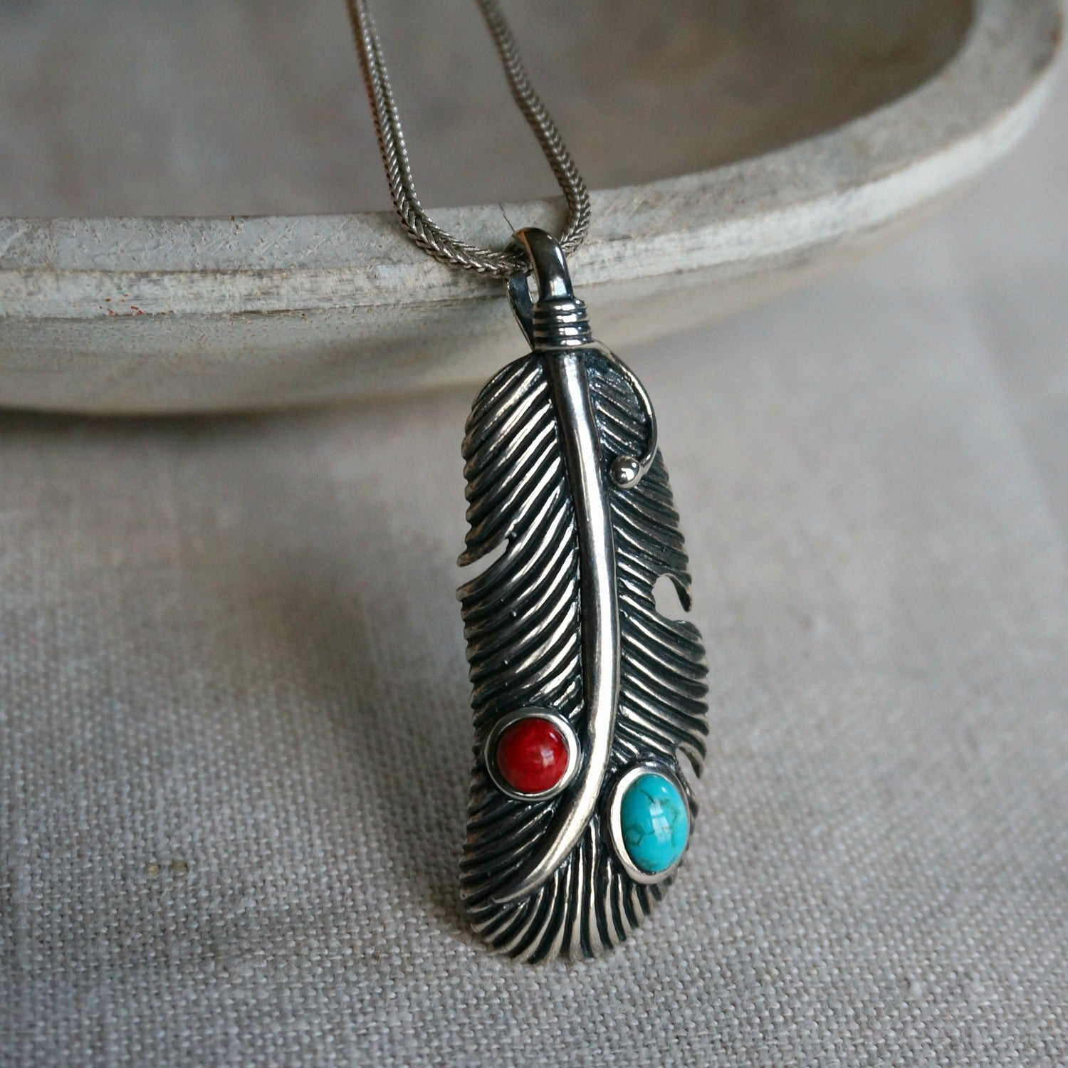 Navajo Turquoise Feather Necklace - SOWELL JEWELRY