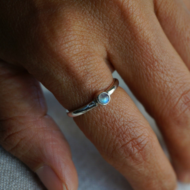 Moonstone Minimalist Ring