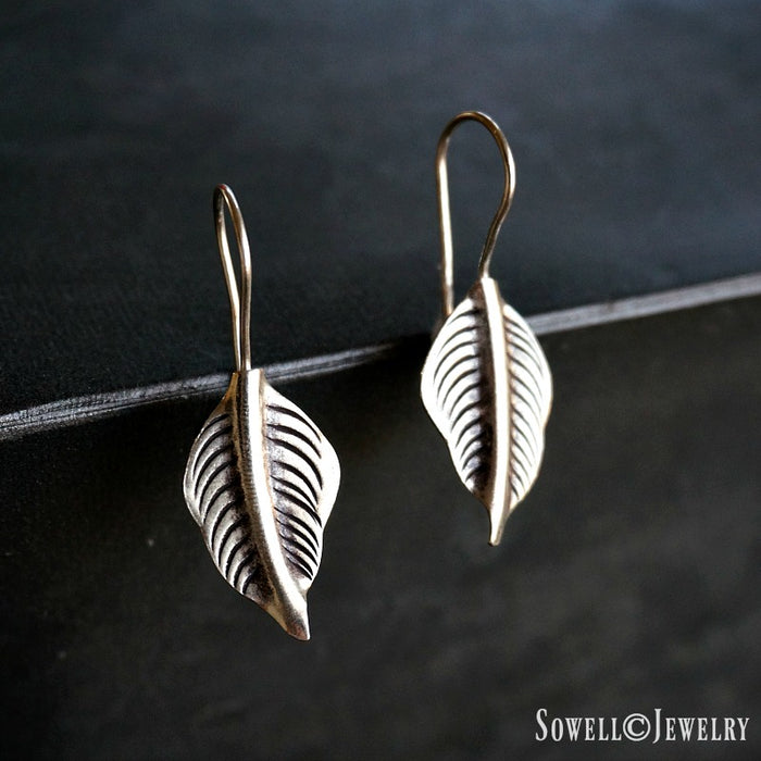 Azima Sterling Silver Leaf Earrings - SOWELL JEWELRY