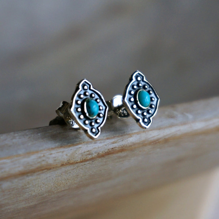 Yana Turquoise Stud Earrings - SOWELL JEWELRY