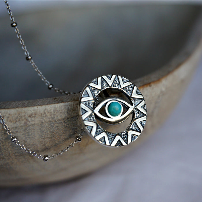 Evil Eye Turquoise Necklace - SOWELL JEWELRY