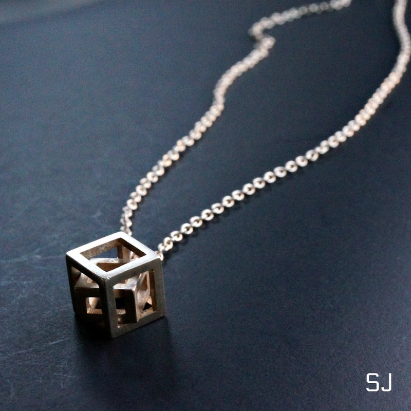 Silver Cube Pendant - SOWELL JEWELRY
