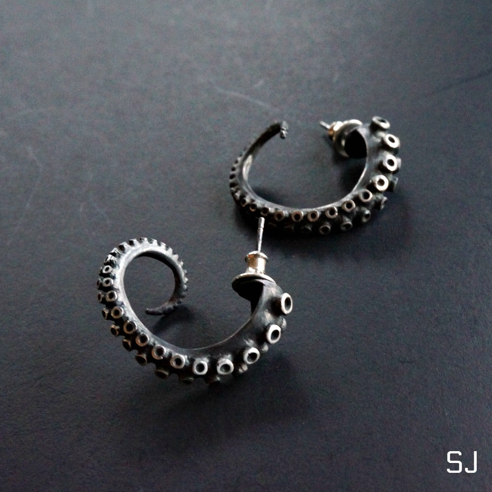 Octopus Hoop Earrings Large - SOWELL JEWELRY