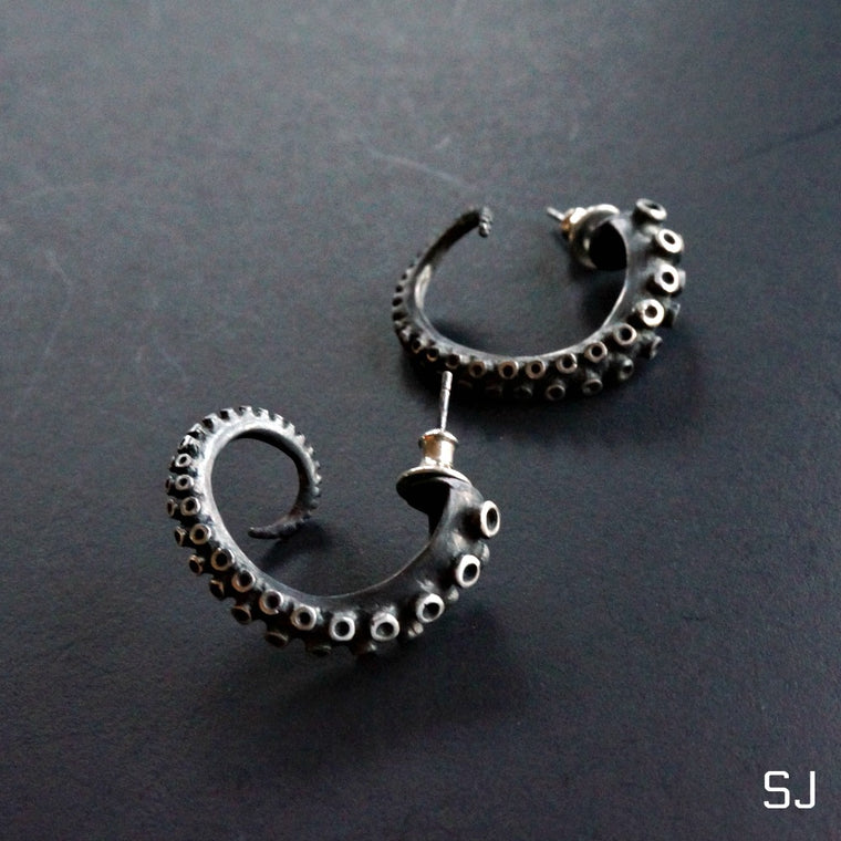 Octopus Hoop Earrings Large