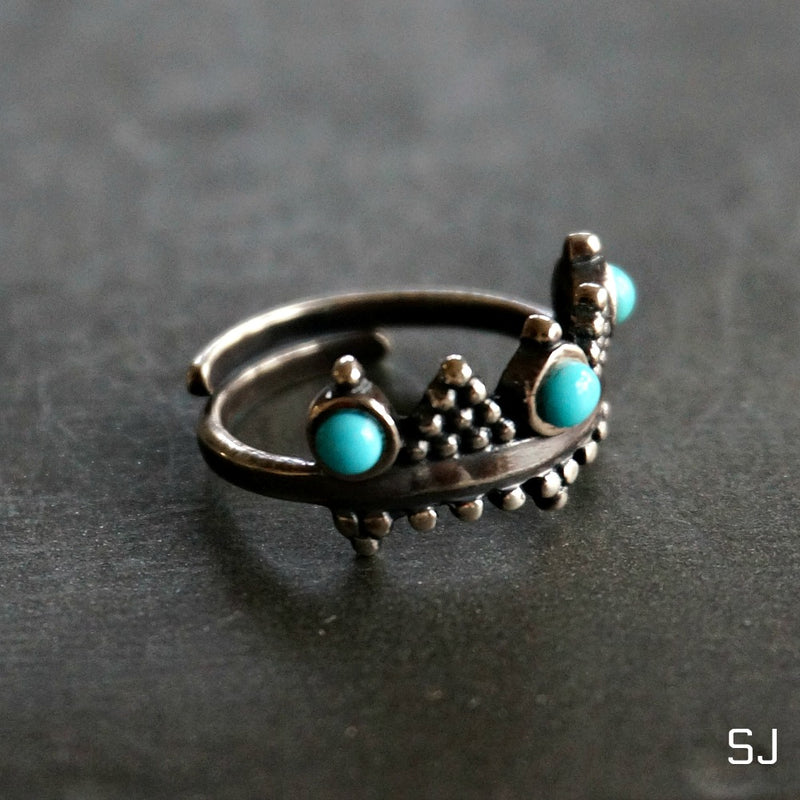 Crown Turquoise Ring - SOWELL JEWELRY