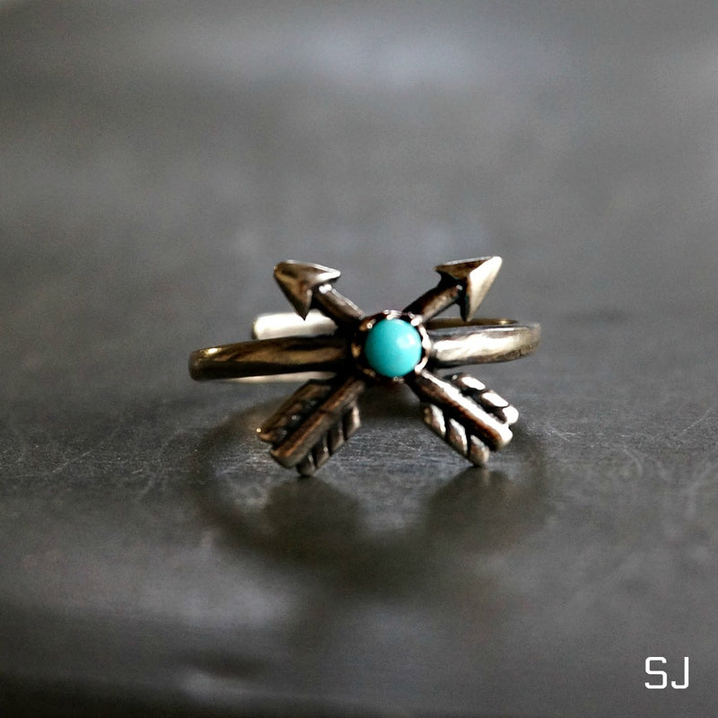 Cross Arrow Turquoise Ring - SOWELL JEWELRY