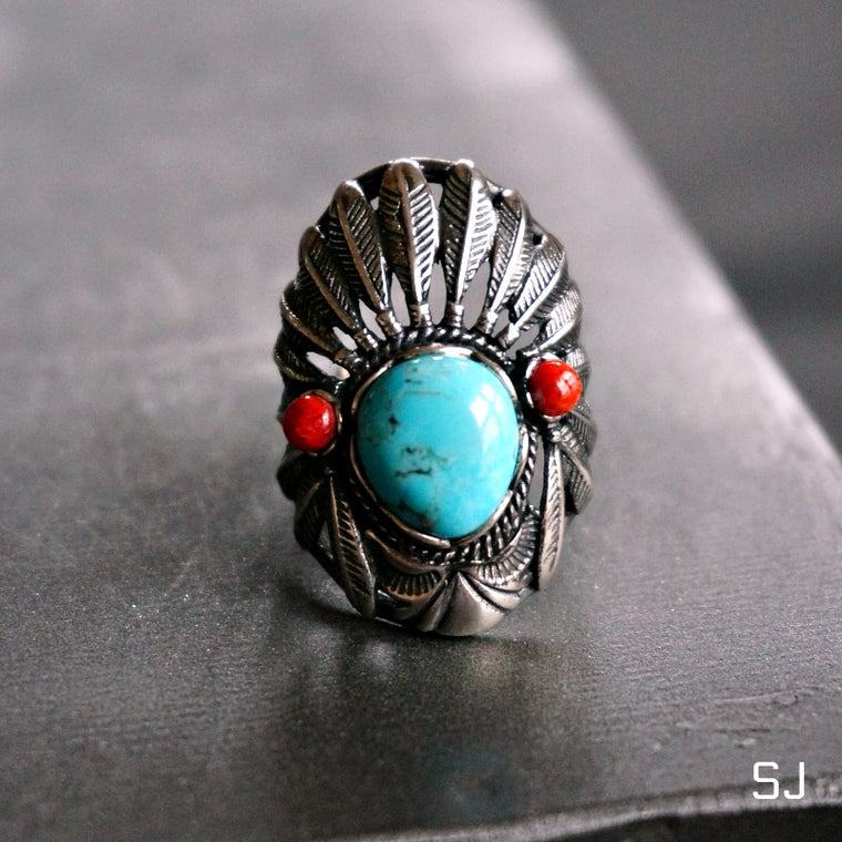 Headdress Turquoise Ring