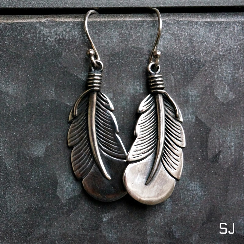 Silver Feather Earrings - SOWELL JEWELRY