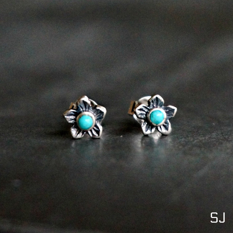Turquoise Plumeria Flower Earrings - SOWELL JEWELRY