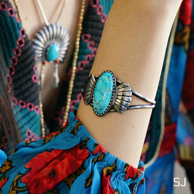 Abedabun Turquoise Cuff - SOWELL JEWELRY