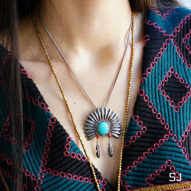 Indian Headdress Turquoise Necklace - SOWELL JEWELRY