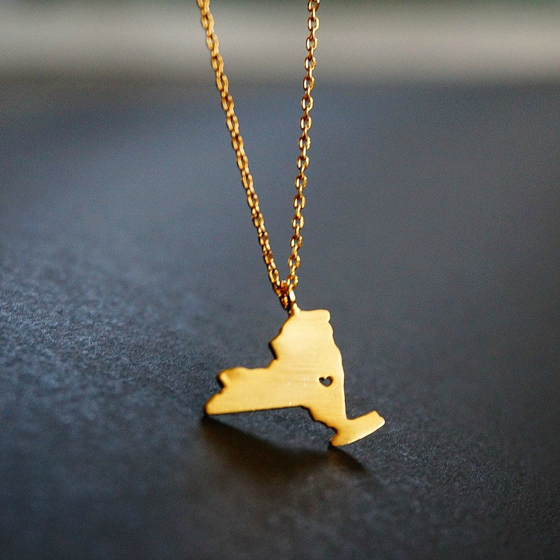 18K Gold State Map Necklace - SOWELL JEWELRY