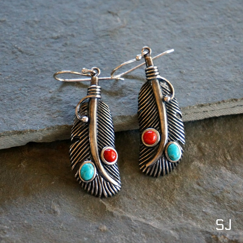 Navajo Turquoise Feather Earrings - SOWELL JEWELRY