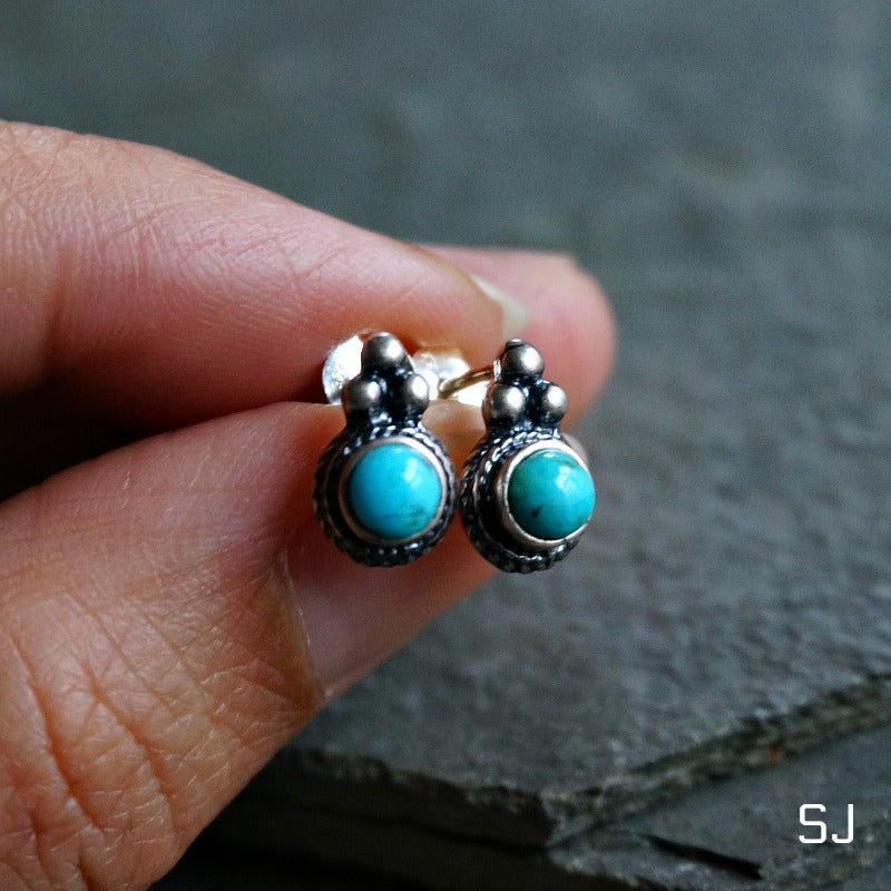 Derya Turquoise Stud Earrings - SOWELL JEWELRY