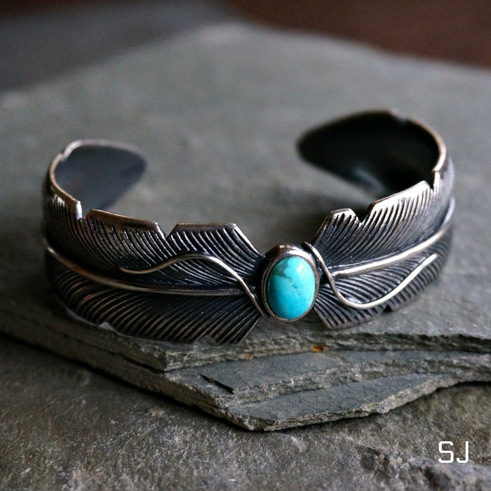 Feather Turquoise Bracelet - SOWELL JEWELRY