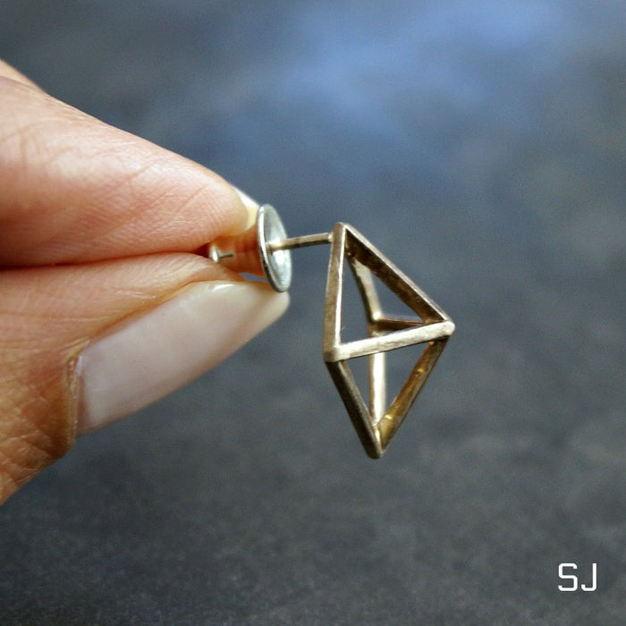 Rhombus Cube Stud Earrings - SOWELL JEWELRY
