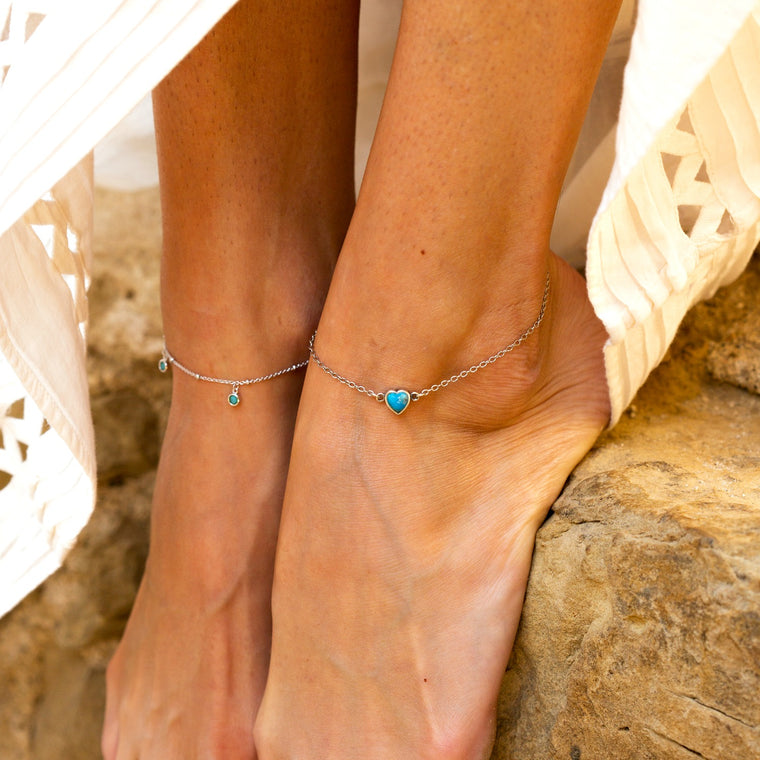 Turquoise Heart Anklet